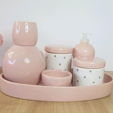 Kit Higiene Bebe Porcelana Poa Rosa e Cinza