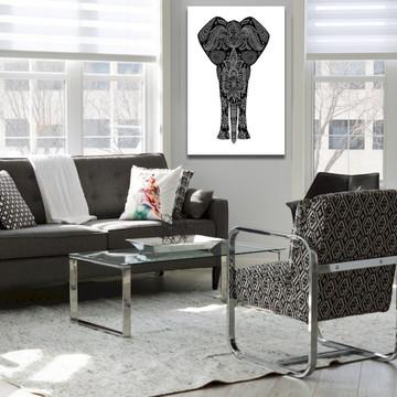 Quadro Parede Em Canvas Elefante Mandala