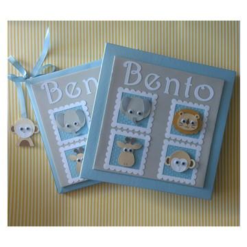Livro Do Bebê Com Caixa tema Safari para menino scrapbook