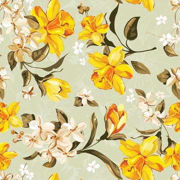 Papel de Parede Floral Lírio do Vale Tons de Amarelo