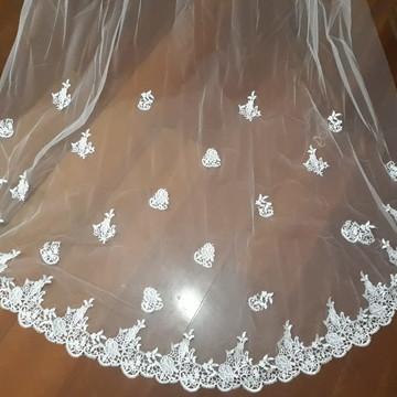 Lindo Véu de Noiva - 3 metros com bordado