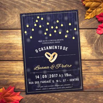 Convite Casamento Noite Luzes 10x7cm
