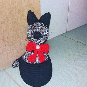 Gato escora porta em crochê