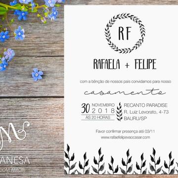Convite de casamento, Convite Rafaela, Convite Arte Digital