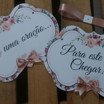 Placa cadeira dos noivos rustica