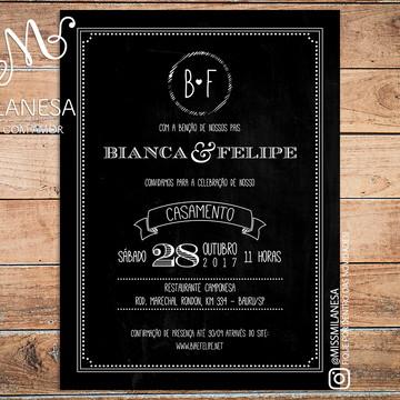 Convite de casamento, Convite Bianca, Convite Arte Digital