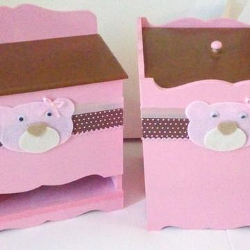 Kit de Higiene - Ursa rosa e marrom - Poá 1