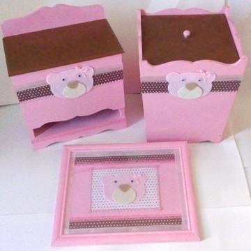 Kit de Higiene - Ursa rosa e marrom - Poá 2