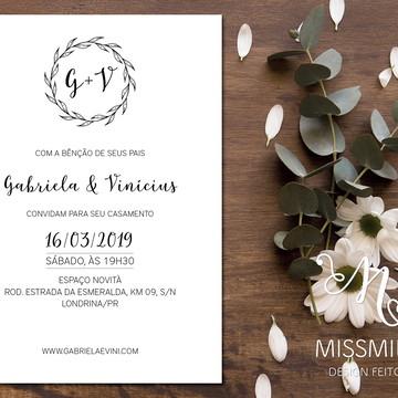 Convite de casamento, Convite Gabriela, Convite Arte Digital