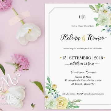 Convite de Casamento, Convite floral, Casamento
