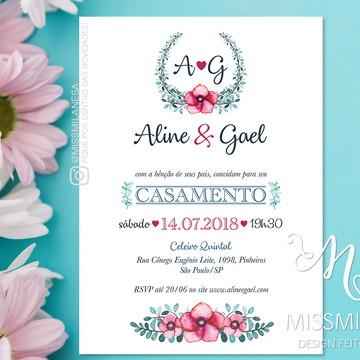 Convite de casamento, Convite Aline, Convite, Arte Digital