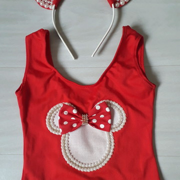 Collant Minnie vermelho + tiara