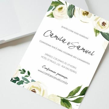 Convite Digital Casamento Rústico Floral