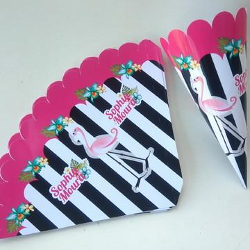 Cone flamingo para doces ou pipoca gourmet