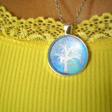 Colar Mandala Árvore da Vida Branca Fundo Azul Céu Star