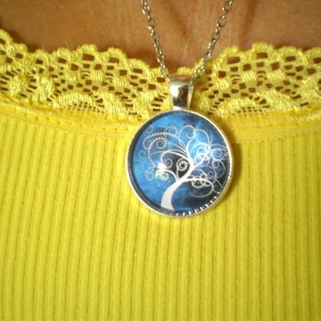 Colar Mandala Árvore da Vida Branca Fundo Azul Céu Star2