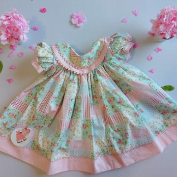 Vestido infantil florido com manga Pollyana