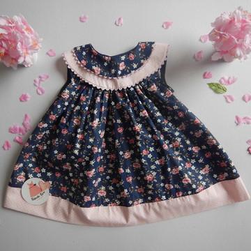 Vestido bebê florido rosa e azul marinho Yasmin