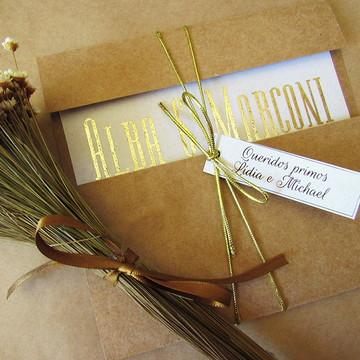 Convite Casamento Rústico Chic gold