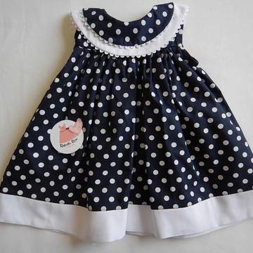 Vestido de bebê azul marinho poá Yasmin