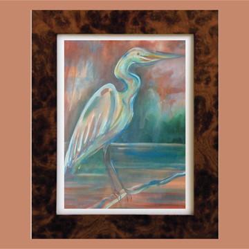Pintura Garça - acrílica sobre tela