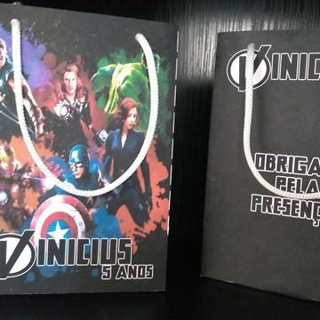Sacolinha Personalizada Aniversario -Vingadores Avengers