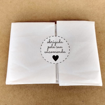 Adesivo 5cm branco ou papel kraft personalizado