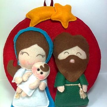 Sagrada Família em Feltro - Enfeite de Natal para porta