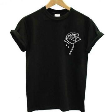 Camiseta Rosa T-shirt Blogueiros Baby look Flor