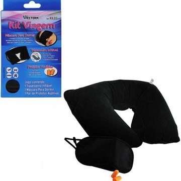 Kit Viagem Travesseiro Inflável + Tapa Olhos + Tapa Ouvidos