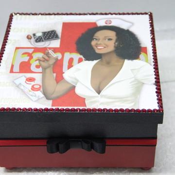 Caixa mdf medicamentos decorada com decoupagem