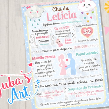 Arte Digital Convite Chuva de Amor Chá de Bebê