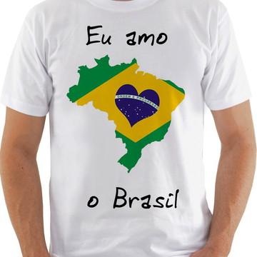 Camiseta Camisa masculino eu amo o brasil