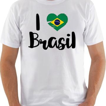Camiseta Camisa masculino eu amo o brasil - I love brasil