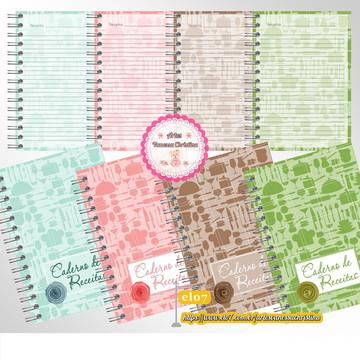 Caderno de Receitas Personalizado - Disponível em 5 cores.