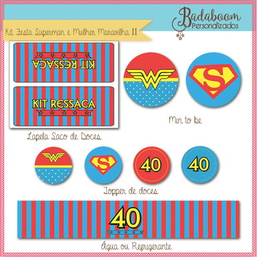 Kit Festa Mulher Maravilha e Superman