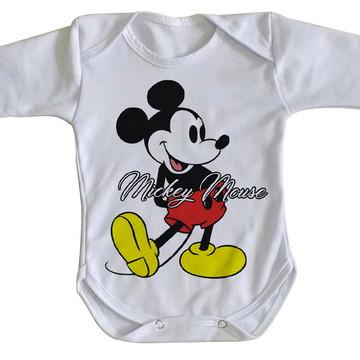 body Manga Longa Criança Roupa Bebê Mickey Mouse Disney
