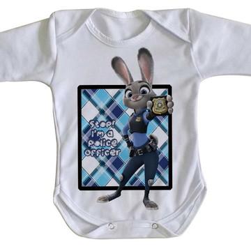 body Manga Longa Criança Roupa Bebê coelho zootopia desenho