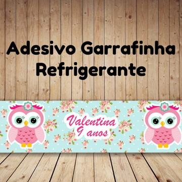 Adesivo para garrafinha de refrigerante Corujinha