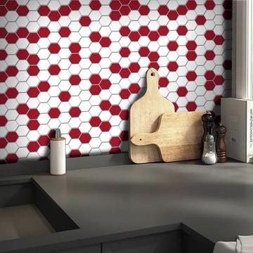 Papel de Parede Pastilha para Cozinha Colmeia Mix Vermelho