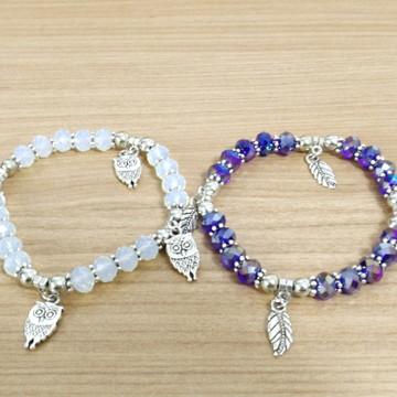 Pulseiras Bracelete Feminina Pedras Sintéticas Coloridas