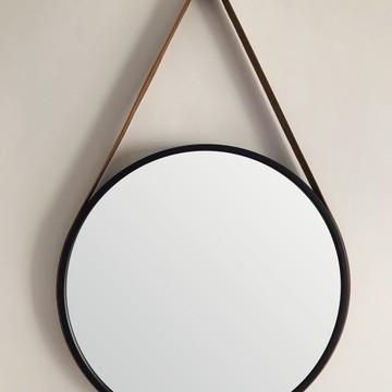 Espelho Adnet Preto 50 cm com Alça Caramelo