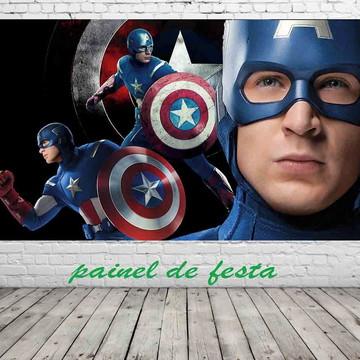 painel de festa capitão america