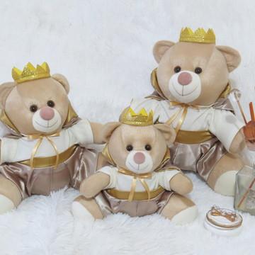 Kit 3 ursos Majestade Bege