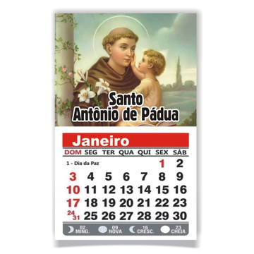 ÍMÃ DE GELADEIRA C/ CALENDÁRIO SANTO ANTÔNIO DE PÁDUA