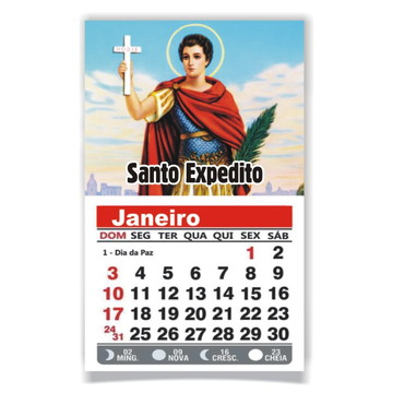 ÍMÃ DE GELADEIRA C/ CALENDÁRIO SANTO EXPEDITO