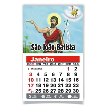 ÍMÃ DE GELADEIRA C/ CALENDÁRIO SÃO JOÃO BATISTA