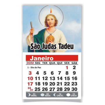ÍMÃ DE GELADEIRA C/ CALENDÁRIO SÃO JUDAS TADEU
