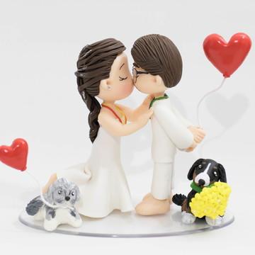 Topo de Bolo Casamento na Umbanda com Cachorros