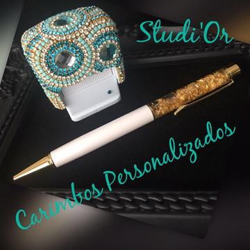 Carimbo luxo personalizado + caneta de cristais